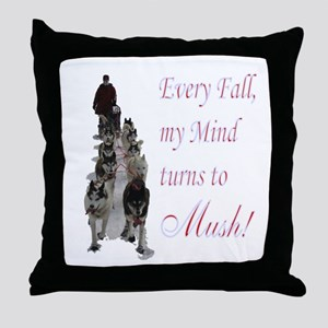 Mush! Throw Pillow
