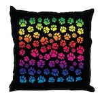 Rainbow Cat Tracks Pawprints on Throw Pillow