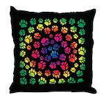 Rainbow Cat Tracks Pawprints Throw Pillow
