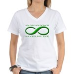 Saved By A Donor Women's V-Neck T-Shirt