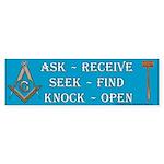 Ask, Seek, Knock Masonic Bumper Sticker
