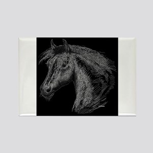 White Line Horse Rectangle Magnet