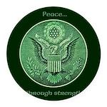 Peace Through Strength Round Car Magnet