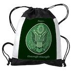 Peace Through Strength Drawstring Bag
