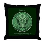 Peace Through Strength Throw Pillow