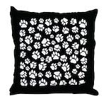 Cat Tracks Pawprints Throw Pillow