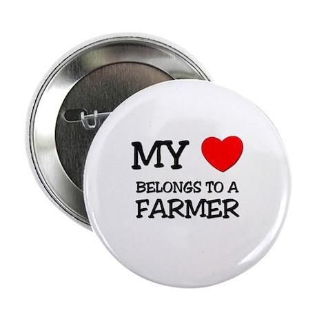"""My Heart Belongs To A FARMER 2.25"""" Button (10 pack"""