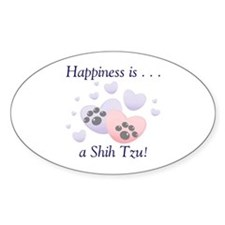 Happiness is...a Shih Tzu Oval Sticker