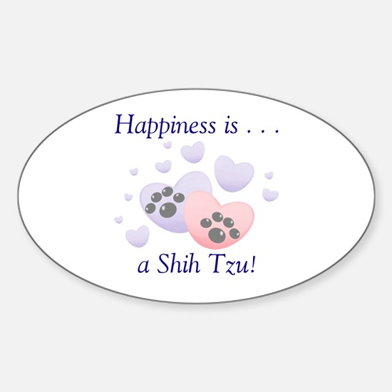 Happiness is...a Shih Tzu Oval Decal