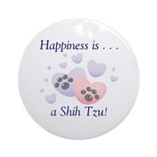 Happiness is...a Shih Tzu Ornament (Round)