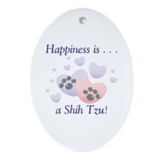 Happiness is...a Shih Tzu Oval Ornament