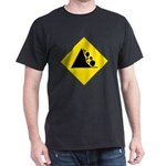 Falling Rocks Sign Black T-Shirt
