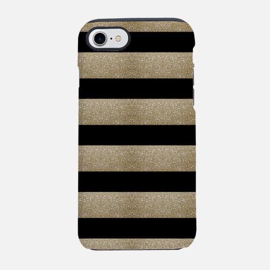 chic black gold stripes iPhone 7 Tough Case