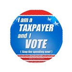 """Taxpayer says STOP! 3.5"""" Button (100 pack)"""