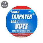 """Taxpayer says STOP! 3.5"""" Button (10 pack)"""
