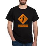 Flagman Ahead Sign 2 Black T-Shirt