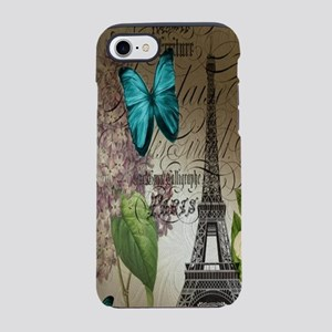 lilac butterfly eiffel tower p iPhone 7 Tough Case