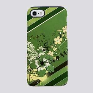 Green Stripe Floral (3G) iPhone 7 Tough Case