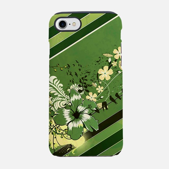 Green Stripe Floral (3G).png iPhone 7 Tough Case