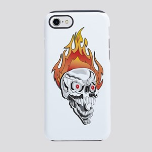 Flaming Skull on Black copy.pn iPhone 7 Tough Case