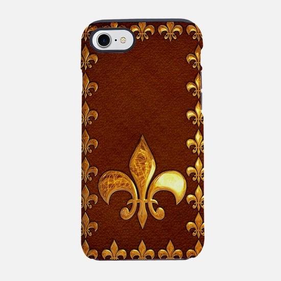 Old Leather with gold Fleur-de iPhone 7 Tough Case
