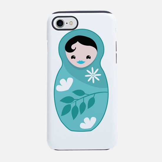 Babushka doll in aqua color iPhone 7 Tough Case