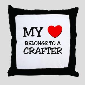 My Heart Belongs To A CRAFTER Throw Pillow