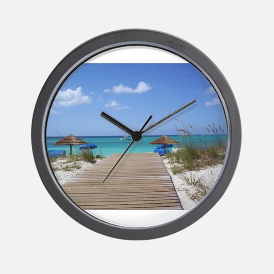 Caribbean boardwalk Wall Clock