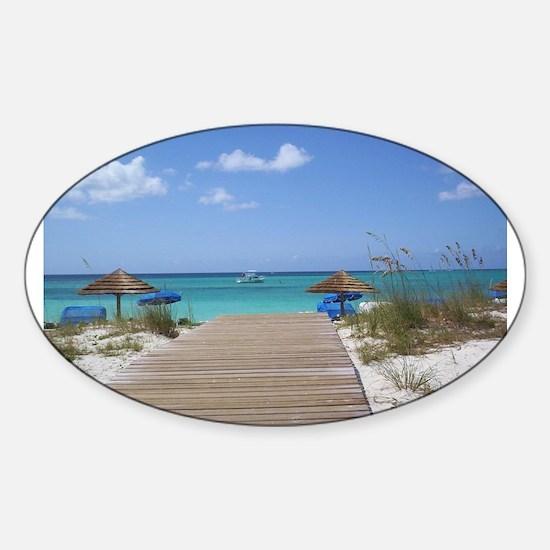 Caribbean boardwalk Oval Decal