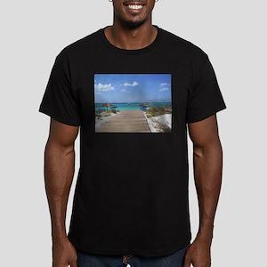 Caribbean boardwalk Men's Fitted T-Shirt (dark)