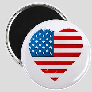USA Flag Heart: Magnet