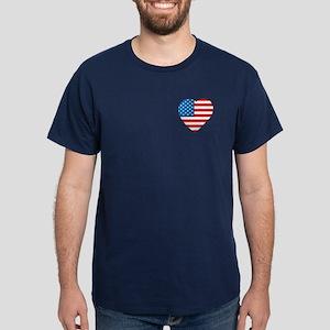 USA Flag Heart: Dark T-Shirt