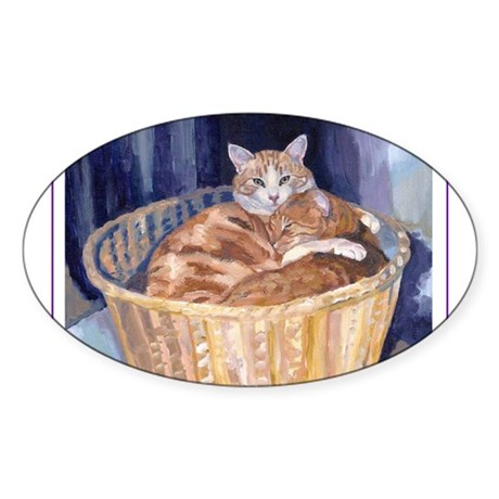 Two cats in a basket Oval Sticker