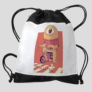 Cyclops Riding A Bicycle Drawstring Bag