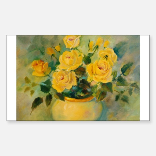 Yellow Roses Rectangle Decal