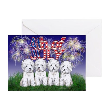 4th of July Westies Greeting Cards (Pk of 20)