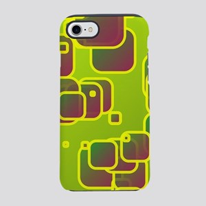Olive green squares iPhone 7 Tough Case