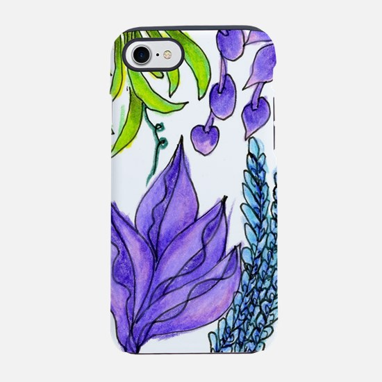 Purple, Green Flower Garden, Z iPhone 7 Tough Case