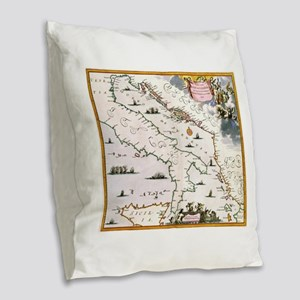 Vintage Map of Italy (17th Cen Burlap Throw Pillow