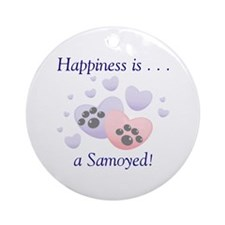 Happiness is...a Samoyed Ornament (Round)