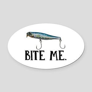 Bite Me Oval Car Magnet