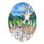 Bunny Rabbits Jump Oval Ornament