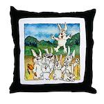 Bunny Rabbits Jump Throw Pillow