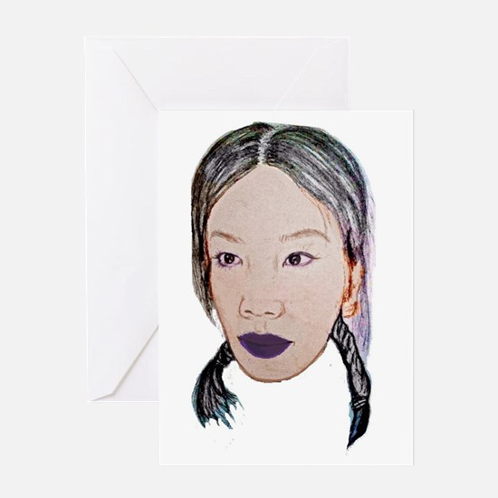 Asian beauty lady woman girl Greeting Cards