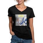 T-Rex Prosthetic Arm Women's V-Neck Dark T-Shirt