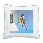 Chickadee on Feeder Square Canvas Pillow