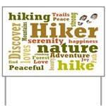 Hiker Word Cloud Yard Sign