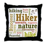 Hiker Word Cloud Throw Pillow