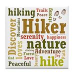 Hiker Word Cloud Tile Coaster