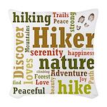 Hiker Word Cloud Woven Throw Pillow